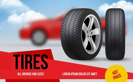 Wheel ads. Brochure template with car wheels automobile item discount for repair vector tyres pictures banners. Auto garage banner, repair tyre wheel, rubber vehicle tire illustration