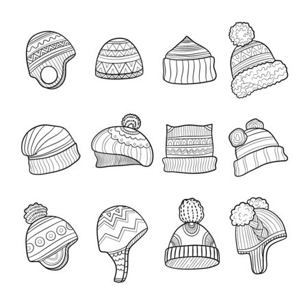 Winter hat. Cold season clothes warm ears flapping vector doodle pictures. Illustration hat winter knitted, headwear doodle and drawn, sketch cap apparel
