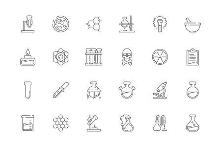 Science icons. Chemistry test tubes beakers biology lab chemical equipment toxic objects vector set. Medical scientific lab icon for research and experiment illustration