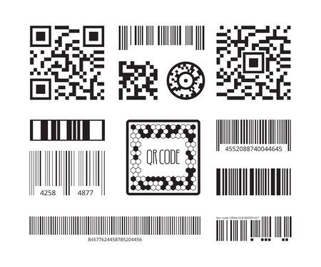 Barcode symbols. Coding products sticker qr digital code technology vector template collection. Illustration barcode identification, tag code for scan