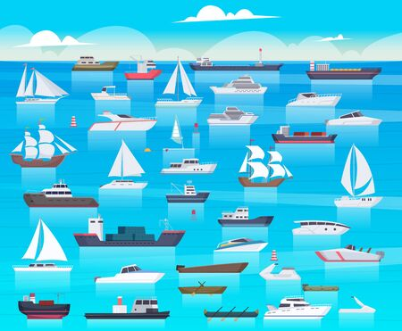 Ship in sea. Sailing boats and passenger cruise ship travel in ocean cargo submarine and yacht vector background cartoon. Transport boat and tanker, shipping transportation raid sea illustration 向量圖像