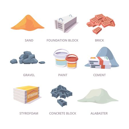 Builder materials. Construction tools pile bricks gypsum cement sand vector materials collection in cartoon style. Illustration pile and brick, stone and sand, alabaster and styrofoam