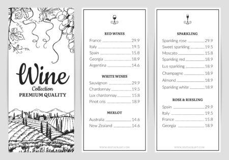 Wine menu. Wine card template. Vector grape sketch, drink menu template. Illustration wine menu restaurant, vintage sketch drawn poster Ilustracja