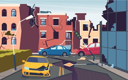 Damaged urban landscape. Nature cataclysm city destroyed quake urbanization problems cracked ground roads vector picture. After earthquake city, destruction building and road illustration