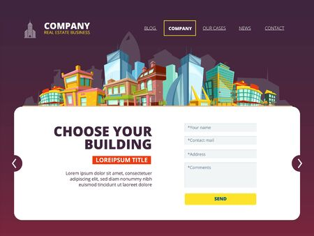 Mortgage loan landing. Web layout of real estate company internet page buildings vector landing. Home exterior, interface housing web site illustration Ilustracja