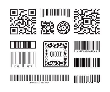 Symboles de code-barres. Autocollant de produits de codage qr collection de modèles vectoriels de technologie de code numérique. Identification de code-barres d'illustration, code d'étiquette pour le balayage Vecteurs
