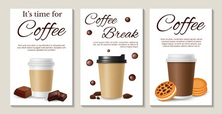 Coffee posters. Realistic vector coffee take away cookies and chocolate. Coffee espresso to breakfast, hot cup cappuccino menu illustration