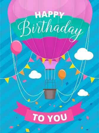 Poster air balloons. Birthday party invitation placard with colored air ballon with basket vector placard. Card birthday with air balloon to holiday illustration