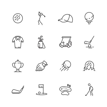 Golf icons. Sport symbols of golf club ball sticks car vector set isolated. Icons golf sport, play and game, tournament golfer and trophy illustration Illustration
