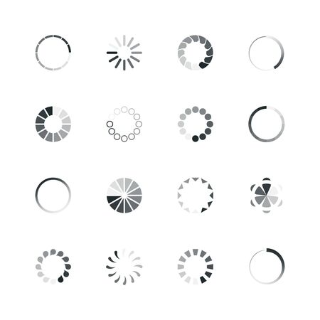 Loading icon. Web ui template loading buffering process progress bar circle rings percent internet vector icon collection. Illustration upload download circle status, interface website
