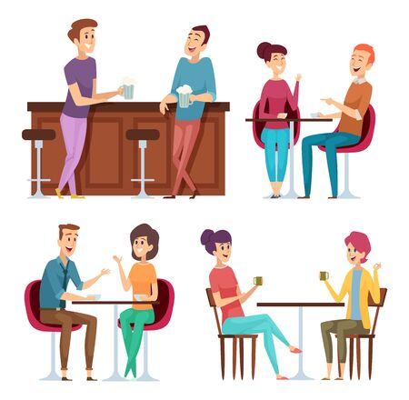 Friends meeting. Happy group people relaxing in cafe restaurant bar meeting sitting and smiling friends vector characters. Group people friend sitting in pub illustration