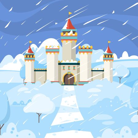Winter castle. Fairytale frozen building kingdom medieval snow magic landscape vector background. Castle winter, building architecture medieval in snow illustration Ilustração