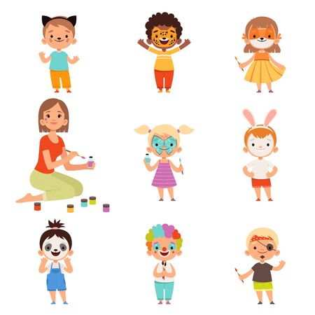 Kids face painting. Animator drawing and playing with childrens party costumes makeup vector cartoon. Illustration costume face paint, creativity playing mask