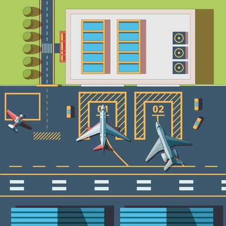 Airport top view. Terminal building and civil aircraft airport runway vector background. Airport building terminal, transport plane, aircraft transportation, airplane top view illustration