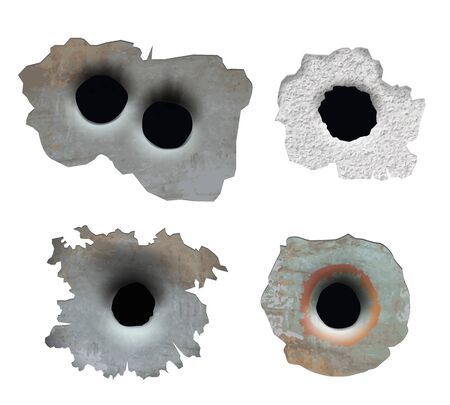 Bullet hole. Crush damaged crack glass from gun smashes pieces broken surface vector bullet lines. Illustration of crack from gun bullet, circular ragged Illustration