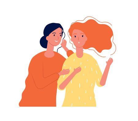 Woman secrets. Ladies girlfriends speaking about surprise gossiping whispering vector concept. Illustration girl speak gossip, secret talk and listening Vektoros illusztráció
