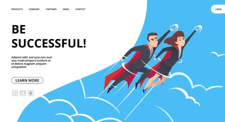Successful business. Web page with male and female superheroes background. Teamwork heroes flying in sky vector business landing concept. Business superhero, businessman achievement illustration Illustration