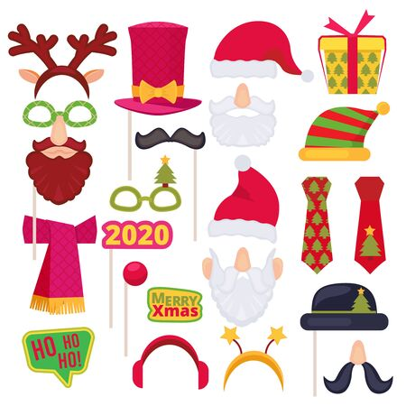 Christmas photo booth. Santa mask hat snowman new year tree snowflakes holiday costumes decoration. Vector cartoon illustrations. Illustration party christmas, santa costume, beard and hat