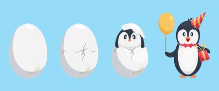 Penguin egg. Birth stages of penguin. Cute cartoon animal newborn vector illustration. Broken egg bird, nature polar and adorable newborn Stock Illustratie