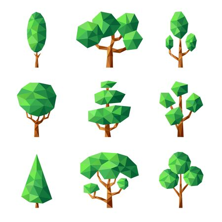 Poly tree. Green nature season plants vector stylized geometrical forms low poly pictures. Illustration geometric tree plant, green forest polygon graphic