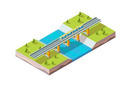 Railway viaduct. Urban train above river modern city infrastructure railroad vector isometric. Railway train, railroad transportation bridge illustration Stock Illustratie