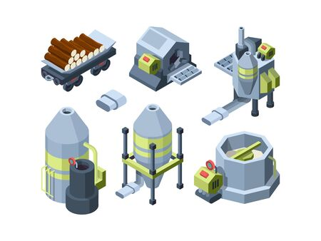 Paper production. Press equipment plants industry making office print and toilet paper cardboard print house vector isometric. Production paper equipment, factory processing 3d operation illustration Ilustrace
