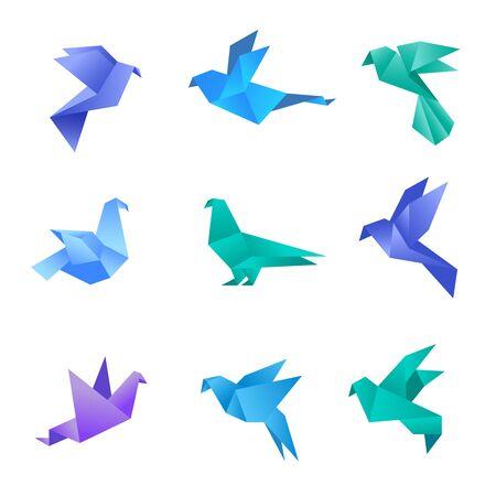 Gołąb origami. Ptaki gołębie z papieru stylizowane wielokąty geometryczne abstrakcyjne zwierzęta wektor kolekcja origami. Ilustracja origami zwierzę, gołąb ptak, geometryczny papier gołąb