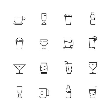 Drinks icon. Tea coffee water cold and hot drinks in cups and glasses vector symbols. Illustration hot tea and soda, water drink and coffee Illustration