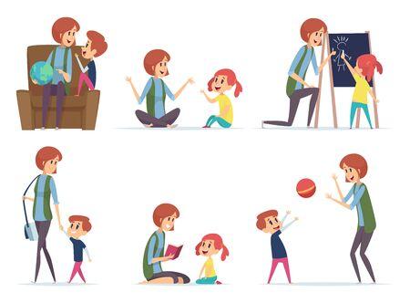 Niñeras. Niñera jugando con niños en edad preescolar, padres ocupados, mamá, personajes de dibujos animados vectoriales. Niñera o niñera con niños niño y niña ilustración