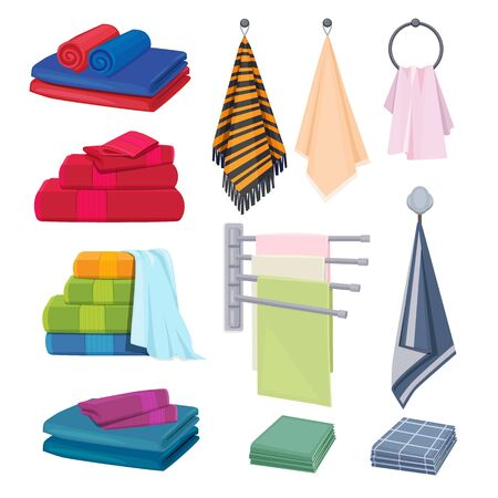 Kitchen rags. Textile cotton fabrics colored blanket towels hygiene elements vector cartoon collection. Soft and towel, cotton textile folded illustration Фото со стока - 133684391