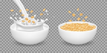 Oatmeal. Milk, muesli, wheat healthy organic food. Realistic vector white bowls with oatmeal. Cereal breakfast with milk, natural porridge oatmeal illustration