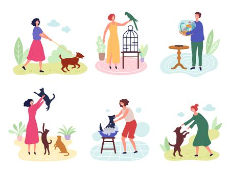 People with pets. Dog cats fishes birds rabbits love for domestic animals vector characters. Illustration bird and fish, dog and cat with owner Standard-Bild - 133331391