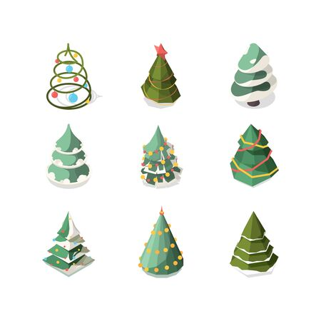 Xmas tree. Stylized new year decorated plants mobius band december symbols vector fashioned tree. Illustration tree to new year and xmas