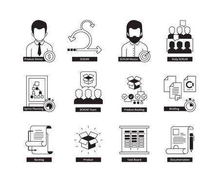 Icono de Scrum. Metodología de desarrollo de agilidad, procesos de negocio, trabajo diario iterativo, icono de vector de gestión del tiempo maestro. Gestión ágil de proyectos scrum, plan de software, ilustración del proceso de agilidad