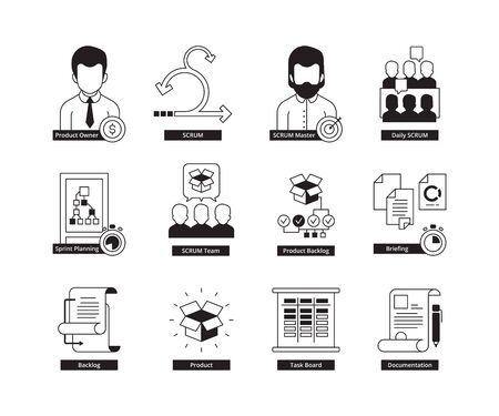 Scrum icon. Agility development methodology business processes iterative daily work master time management vector icon. Agile scrum project management, software plan, agility process illustration