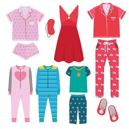 Pyjama. Textile Nachtwäsche für Kinder und Eltern Nachtwäsche zum Schlafengehen Pyjamas Vektor farbige Bilder. Illustration Textilnachtpyjamas für Mädchen und Jungen