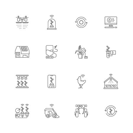Smart farm icon. Innovation agricultural processes computer plants wheat growth mobile network sprinkler control technology vector. Farming robot icon, tractor agriculture innovation illustration
