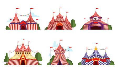 Circus tent. Carnival circus canopy stripe tent different styles happy party symbols vector cartoon collection. Illustration circus carnival tent with flag, performance cirque