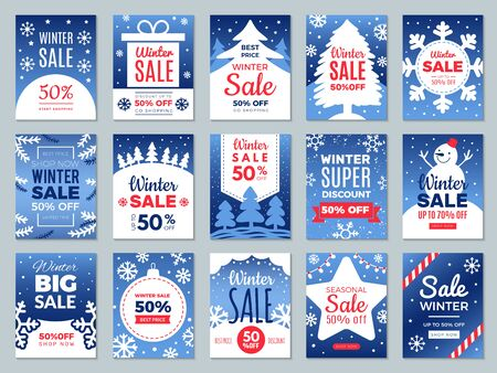 Winter promo cards. Season offers advertising banners labels for best price promotional vector template. Illustration advertising discount, offer price promotion Stock Illustratie