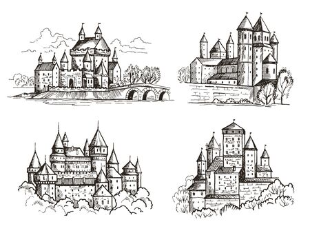 Castles. Medieval buildings for knights czech republic vintage castles old Prague architectural construction hand drawn set. Castle with tower, gothic famous sketch landmark illustration