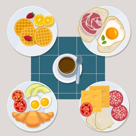 Breakfast food. Healthy everyday products menu croissant pancakes eggs sandwich milk juice vector cartoon style. Illustration healthy sandwich, bacon and dessert