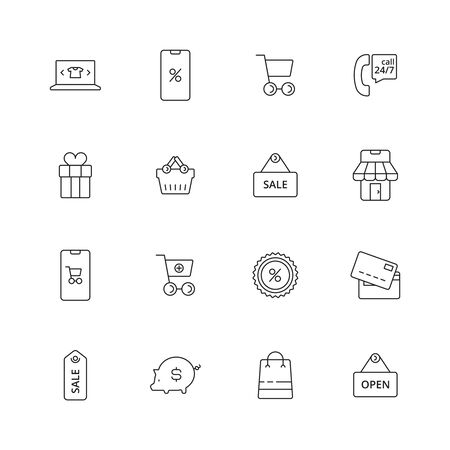 E-commerce icon. Business shopping purchase retail pictograms market tags vector thin line symbols. Shop and retail, purchase and basket illustration
