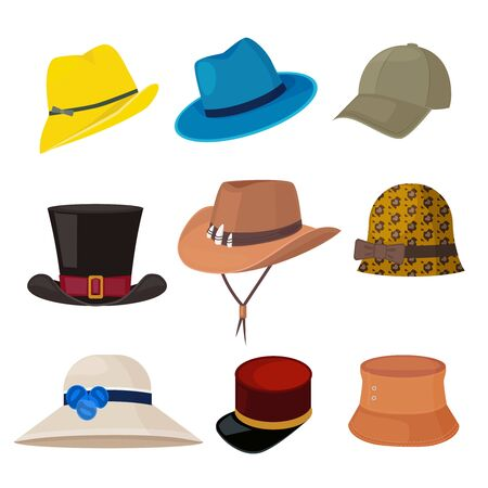 Cartoon hats. Male and female stylish accessories of wardrobe headwear flat fashion collection. Female and male hat fashion collection, headdress of set illustration Banque d'images - 133331872