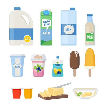 Milk products. Dairy food yogurt leche cheese ice cream vector cartoon natural healthy products collection. Cheese natural, drink milk and dairy yogurt illustration