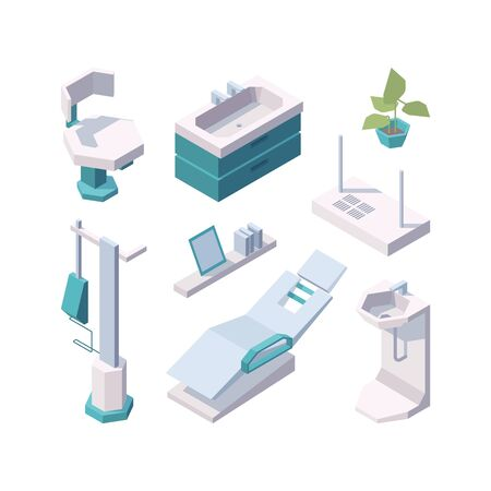 Stomatology. Professional healthy medical healthcare clinic tools clinical dental chair furniture vector isometric. Illustration dentistry equipment, interior dentist cabinet Illustration