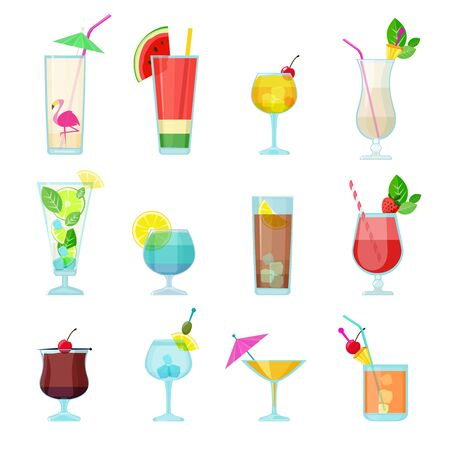 Cocktails collection. Alcoholic summer drinks liquid food in glasses mojito vodka sambuca martini vector set. Martini and mojito cocktail, liquid alcohol illustration Illustration