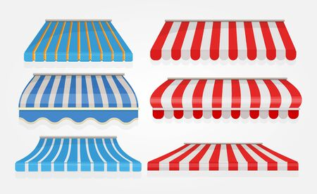 Stripe tent. Shopping or restaurant window canopy awning tent with red lines vector collection isolated. Cafe tent, shop street storefront, canopy shelter illustration