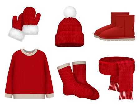 Season winter clothes. Wool scarf cold weather hat mittens and socks vector realistic clothes fashioned collection. Scarf and sweater, christmas mittens and cap illustration Stock Illustratie