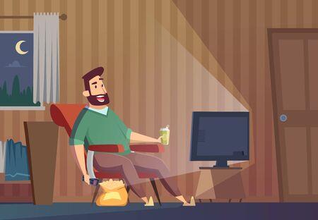Viendo la televisión. Hombre gordo malsano perezoso sentado en el sofá relajante estilo de vida sedentario persona ver fútbol vector de fondo. Ilustración de expresión de televisión de reloj de hombre perezoso