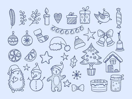 Winter season doodles. New year merry christmas collection snowflakes animals clothes gifts funny hand drawn elements for celebration. Xmas garland and hedgehog, snowman and bear doodle illustration